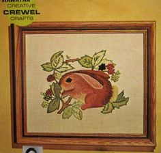 Vintage Hiawatha #6844 Crewel Embroidery Kit, Browsing Bunny, Started Needlepoint Kit, Belgian Linen Canvas, Wool Yarn, Bunny Rabbit Forest by LuckyPennyTrading on Etsy