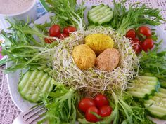 Celebrate Easter and welcome spring with this not-your-ordinary salad. Children will be delighted to help you with the nest-building business!