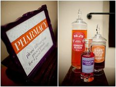 love potion, kissing elixir, and laughing tonic. pharmacy themed drinks.