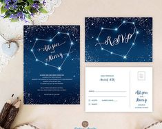 Starry night sky wedding invitations with rsvp by OnlybyInvite Outdoor Night Wedding, Evening Wedding Receptions, Night Time Wedding, Starry Night Wedding, Heart Wedding Invitations, Wedding Invitation Sets, Wedding Stationery, Invitation Ideas, Invitation Suite