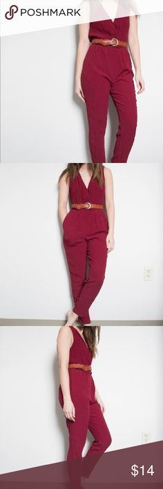 V-neck Deep Red Sleeveless Jumpsuit Romper F21. Size SMALL. Worn twice; in overall great condition but slightly wrinkled from storage. This does not come with the belt. The V-neck portion does have a clip so your chest won't fall out + makes it easier to slip on. Forever 21 Pants Track Pants & Joggers