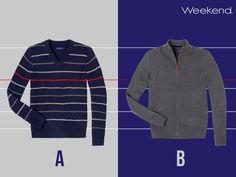 """Sorpréndelo con un suéter abrigador y de moda. ¿Cuál le queda mejor: liso y con cierre o de rayas con cuello en """"V""""?"""