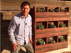 Build a Hanging Vertical Pallet Garden to Grow Food on Walls AND organic pest control advice! Verticle Garden, Vertical Pallet Garden, Pallets Garden, Pallet Gardening, Vertical Planter, Organic Gardening, Gardening Tips, Raised Garden Beds, Raised Bed