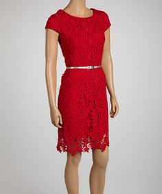 Red Lace Belted Sheath Dress :VALENTINES DAY