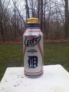 Miller Lite Beer Detroit Tigers Aluminum 16oz Pint Bottle W/ Cap MLB Baseball