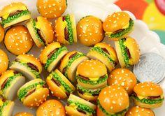 20mm Big Chunky Hamburger Junk Food Flatback Resin Cabochons - 6 pc set
