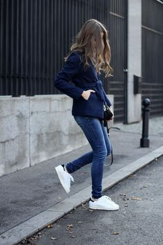 White sneakers, blue