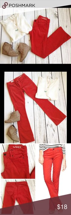"""Red cords EUC cherry red boot cut cords.  Brand: Gap Size 25 or 0P: 14""""W, 37""""L, 28.5"""" inseam  Material: cotton, polyester, spandex GAP Pants Boot Cut & Flare"""