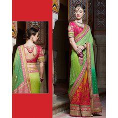 Green,Orange Color Saree at Rs.7,993.07   #indiansaris #green # shopping #indianfashion #orange #shopnow #sanginionline #sinduri