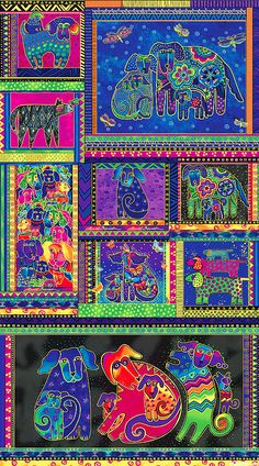 """Dogs & Doggies - Artful Breeds - 24"""" x 44"""" PANEL - Quilt Fabrics from www.eQuilter.com"""
