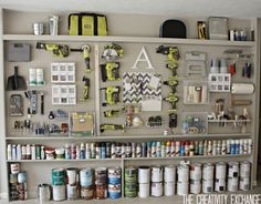 Source: The Creativity Exchange - DIY Garage Pegboard storage wall