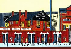 Original print of Fulham Football Club size Free postage Fulham Fc, Riverside House, Years Passed, London Art, Beautiful Birds, Manchester, Sketch, Football, A4 Size