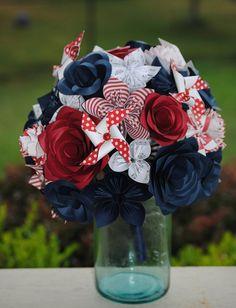 Pinwheel Paper Flower Wedding Bouquets. You Pick by TreeTownPaper