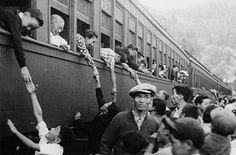 Japanese people and people of Japanese descent being put on trains in British Columbia.
