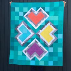 :: Fractured Hearts Quilt with the Double-Trouble Quilt Block :: - SewKatieDid Bauhaus Textiles, Heart Day, Half Square Triangles, Double Trouble, Valentine Day Crafts, Clean Up, Quilt Making, Quilting Projects, Clean House