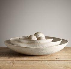"Restoration Hardware Stoneware Nesting Bowl | Large size (15"" diameter x 3-1/4""H) | $209 | Dining table centerpiece"