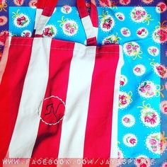 Book bag in sturdy canvas sweetened with a scalloped monogram. #embroidery #jayasplace #happyplace #handmade