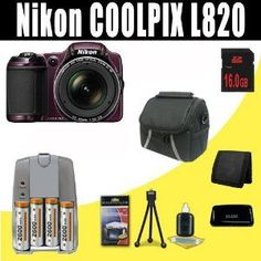 Nikon COOLPIX L820 16 MP Digital Camera with 30x Zoom (Plum) 2600 mAh 4 AA Pack NiMH Rechargeable Batteries and Charger + 16GB SDHC Class 10 Memory Card + Carrying Case + SDHC Card USB Reader + Memory Card Wallet + Deluxe Starter Kit Bundle DavisMAX Accessory Kit - http://electmecameras.com/camera-photo-video/digital-cameras/digital-slr-camera-bundles/nikon-coolpix-l820-16-mp-digital-camera-with-30x-zoom-plum-2600-mah-4-aa-pack-nimh-rechargeable-batteries-and-charger-16gb-sdh