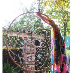 Rainbow Indian Moondancer Dreamcatcher to the Crystal Moon,handmade