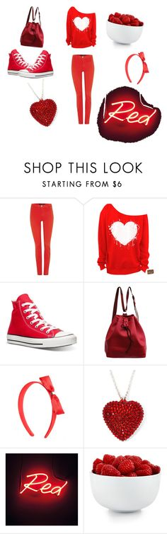 """""""red"""" by bufiy ❤ liked on Polyvore featuring J Brand, Converse, The Cellar, women's clothing, women, female, woman, misses and juniors"""