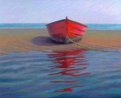 Red Boat on Sandbar Pastel Daily Painting by Poucher, painting by artist Nancy Poucher