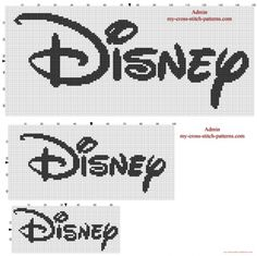 Disney logo cross stitch patterns 150 100 and 65 stitches width (click to view)