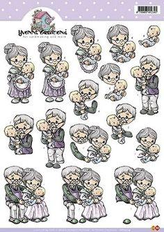 3D Knipvel - Yvonne Creations - Opa en oma met baby