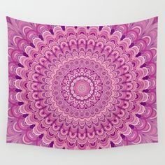 Pink flower mandala wall tapestry
