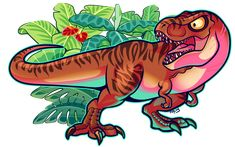 """Cartoon Rexy """"Are you ready for a ferocious fight for survival, then you'll need the incredible Rexy!!!! She'll make a biting attack with her massive chomping jaw, and no dino can pierce her tough armor or dodge her stomping feet!!!! Let the prehistoric battle begin!!..!!"""" Jurassic World"""