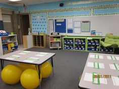 She had a child with ASD in her class and realized that a strategy for that child benefited ALL the children. Now every parent requests her based on her research.---I want ball chairs for my classroom so badly! Classroom Layout, Classroom Organisation, Classroom Setting, Classroom Design, School Organization, Future Classroom, Classroom Management, Classroom Decor, Behavior Management