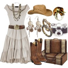 country girl with Durango Boots created by j-yoshiko. love the outfit, necklace and earrings. Don't think cowboy boots for a 62 would go well, nor the hat. Country Girl Style, Country Girl Dresses, Looks Country, Country Style Outfits, Country Fashion, My Style, Country Casual, Country Outfits For Women, Cowgirl Outfits For Women Dresses