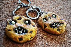 Zombie cookie polymer clay keychains