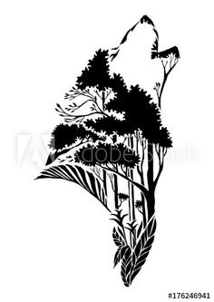 black silhouette wolf head howling tribal tattoo with earth element or ground element in tropical forest concept design with withe isolated background Tree Silhouette Tattoo, Forest Silhouette, Wolf Silhouette, Ballerina Silhouette, Tattoo Fairy, Tattoo Tree, Husky Tattoo, Wallpaper Flower, Forest Tattoos