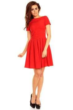 Red Mini Flared Prom Dress With Short Sleeve