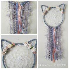 Boho cat dream catcher grey
