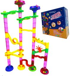 Marble Runs - Marble Run Coaster 55 Piece Set with 40 Building Blocks15 Plastic Race Marbles Learning Railway Construction TEVELO DIY Constructing Maze Toy for All Family Classic Endless Track Design Fun Kit ** You can get more details by clicking on the image.