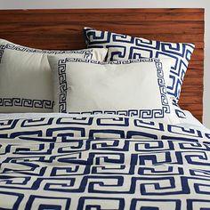 Greek Key Duvet, King, Ivory/Aegean Blue #westelm not availabe