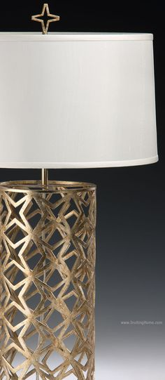 hand-wrought iron table lamp with star design in antique silver leaf finish; hand-crafted lamps