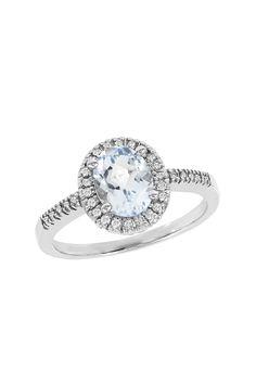 Effy Jewelry 14K White Gold Aquamarine & Diamond Ring
