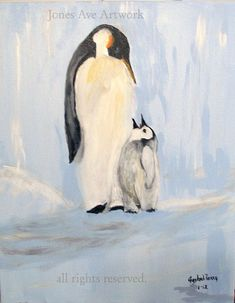 Penguin Acrylic Paintings | Original wildlife, acrylic painting, Father and Son Penguin, 16x20, G ...
