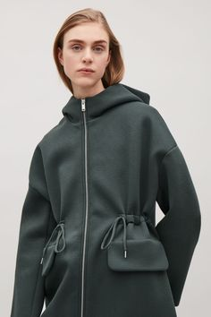COS image 2 of Drawstring scuba jacket in Khaki Green