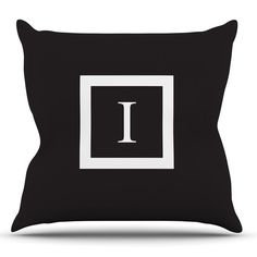 Kess InHouse Monogram Solid Black Outdoor Throw Pillow - KIH045AOP0