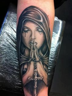 Arm Praying Hands Women Tattoo by Cake Happy Tattoo