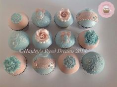 Blue and blush cupcakes