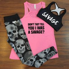High Fashion Summer Outfits for 2019 Didn't they tell you that I was a savage shirt - savage sports bra - skull leggingsDidn't they tell you that I was a savage shirt - savage sports bra - skull leggings Workout Attire, Workout Wear, Workout Shirts, Workout Outfits, Gym Outfits, Summer Outfits, Fashion Outfits, Visual Kei, Savage Shirt