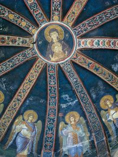Dome in Chora Museum, with Angelic presence surrounding the Madonna and Child, Istanbul, Turkey-- Orthodox murals Byzantine Architecture, Art And Architecture, Christian Artwork, Serenity, Byzantine Art, Cathedral Church, Madonna And Child, Fresco, Istanbul Turkey