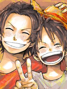 Ace and Luffy by 灼