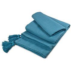 Buy Cotton Tassel Large Throw Teal | Throws | The Range