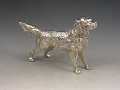 Victorian Novelty Antique Silver Golden Retriever Pepper