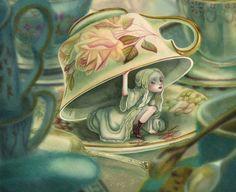 """Détail """"Illustration Alice au pays des merveilles"""" - Benjamin Lacombe"""